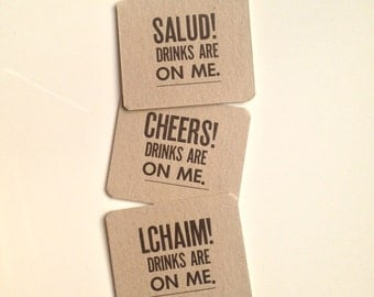Typographic Letterpress Coasters - Cheers Salud L'Chaim Pun Coasters