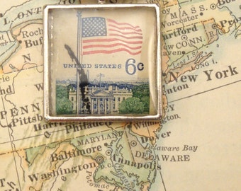 Vintage US 6 Cent Stamp Pendant Necklace Key Ring - Flag and White House