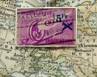Vintage Belgium Cancelled Postage Stamp Necklace Pendant Key Ring
