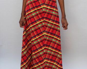 "70s vintage plaid maxi skirt, small / medium - 28"" waist, red, seventies"