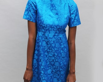 60s vintage shiny blue dress, floral, brocade pattern, short sleeves, below knee, medium