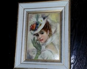 Beautiful Vintage Edwardian Reproduction on Wooden Frame