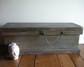 RESERVED for Shannon -- large rustic vintage wood chest / industrial storage box