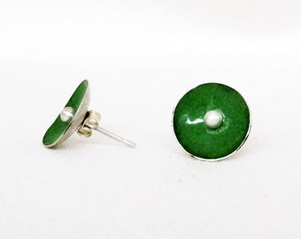 Eco Friendly Apple Green Sterling Silver Enamel Earrings Recycled silver earrings Green torch-fired Enamel round upcycled small stud post