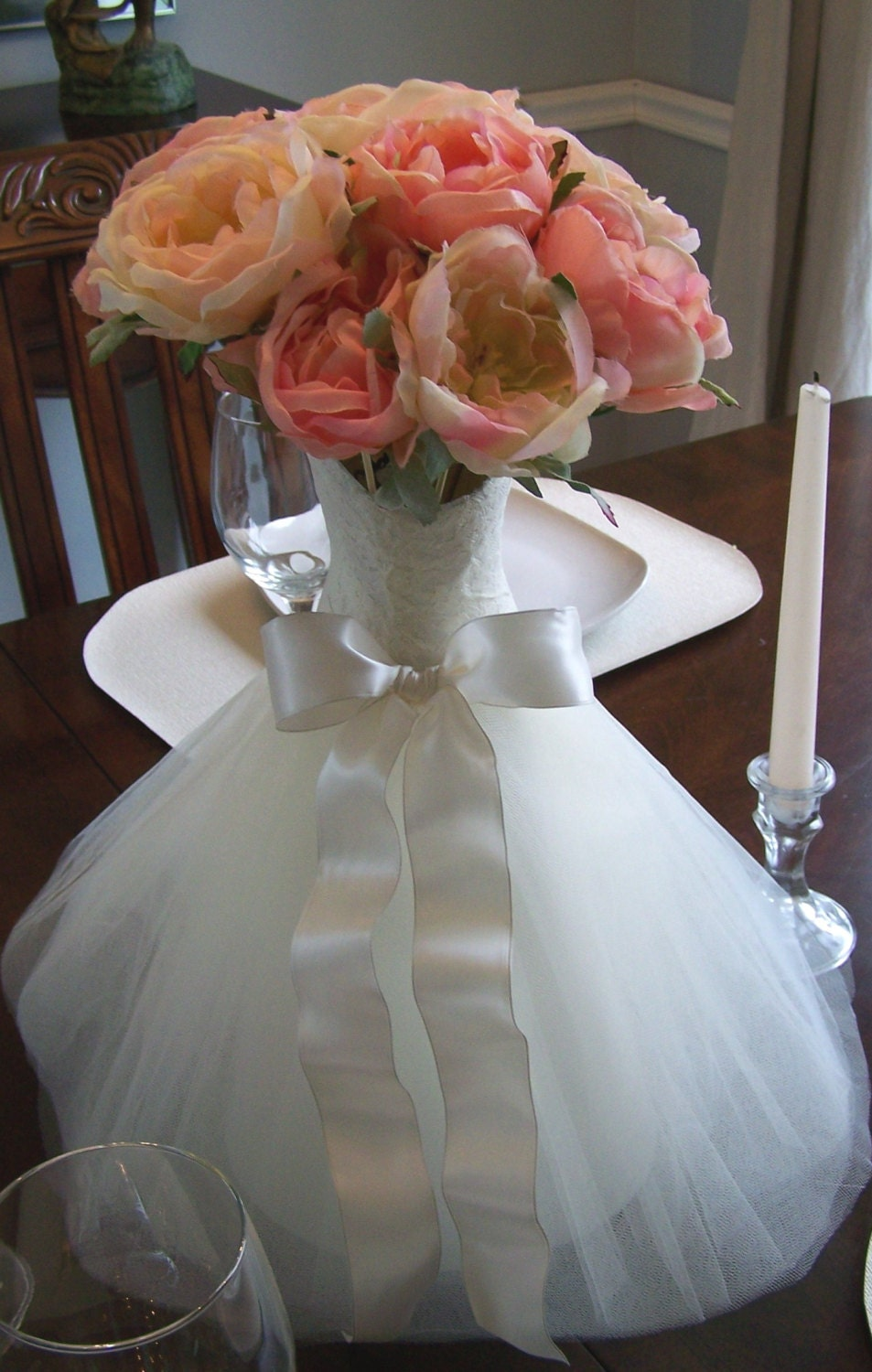 Wedding table centerpiece bridal shower wedding centerpiece for Wedding dress vase centerpiece