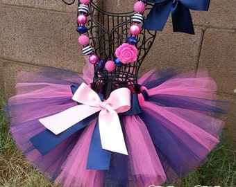 BABY DOLL- Pink and Navy Blue tutu with hairbow: Newborn-5T