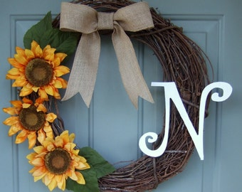 Monogrammed Wreath - Summer Wreath - Fall Wreath - Sunflower Wreath with Monogram Initial