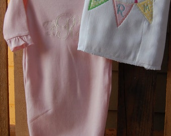 Baby Ruffle Gown, Monogram, Birdie Penant Burp Cloth, Appliqué, Shower Gift, Set