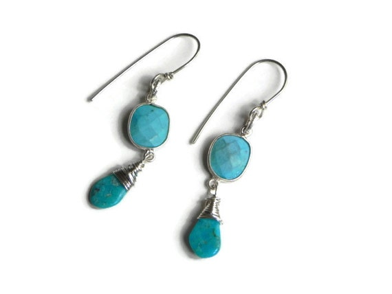 Turquoise dangle earrings, Sleeping Beauty Turquoise beadwork earrings