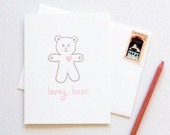 Love Teddy Bear Letterpress Card