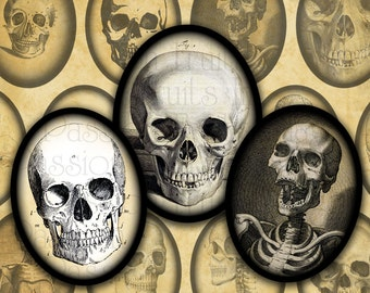Vintage Skull Images 30mm x 40mm Ovals- Halloween Digital Collage Sheet-- Instant Download