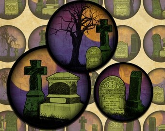 """Haunted Cemetery Halloween Digital Collage Sheet 1"""" Circles- Instant Download"""