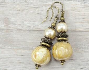 Cream Earrings - Antique Brass Czech Glass and Pearl Beaded Earrings - Antique Brass Jewelry - Dangle Earrings Bronze Beige Neutral Autumn