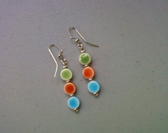 Green, Orange and Blue Dot Earrings (1123)