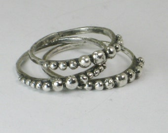Sterling Balls Ring Hand Crafted Organic Textured Sterling Silver 925