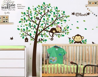 Forest Tree Decal with 2 Monkeys, birds and name decal for nursery,kids room, playroom.