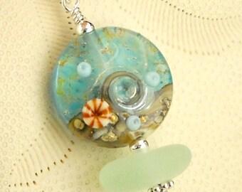 Genuine Sea Glass Necklace Wave Bead Beach Jewelry