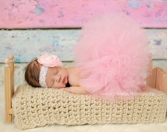 Pink Baby Tutu, Newborn Tutu and Headband, Pink Tutu Photo Outfit, Baby Girl Tutus, Infant Tutu, Tulle Skirt, Toddler Tutu Set