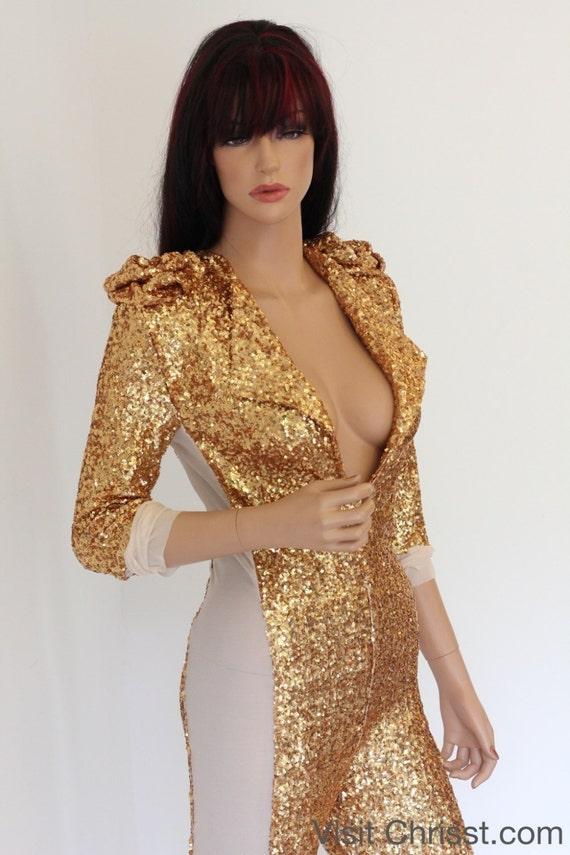 Catsuit Sequin Costume Gold Costume Fashion Bodysuit CHRISST