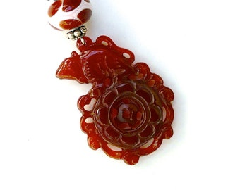 C4002E Carved Carnelian Rat, Glass Lamp Work Pendant Necklace - SALE
