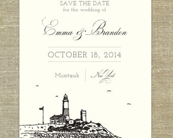 Lighthouse sketch save the date; Montauk New York sketch; SAMPLE ONLY