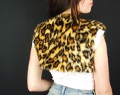Leopard Fur Vest, Brown, Animal Print, Ladies, Faux Fur Bolero, Lined Cropped Vest, Waistcoat, S, Small, Tribal, Boho, Festival SALE