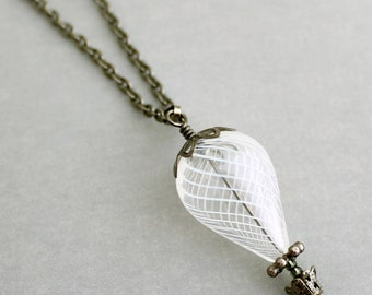 White Hot Air Balloon Necklace with dark silver - Hot Air Balloon Jewelry - Summer Necklace - Gunmetal and white balloon