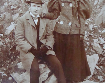Antique Photo Vintage Cabinet  Photo  Victorian Explorers Handsome Couple Outdoors
