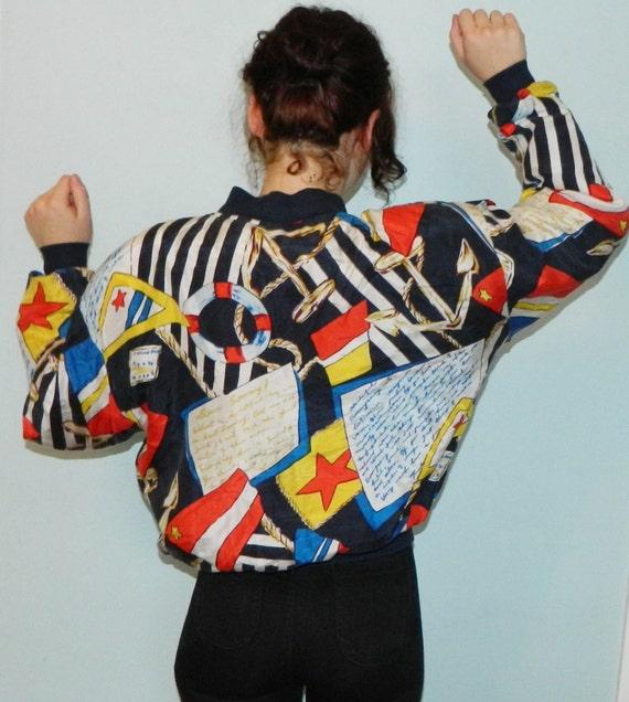 vintage 80s 90s nautical silk jacket shoulder pads ugly summer