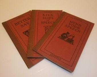 Funk & Wagnalls 1923 Set of 3 Pocket Dictionaries Correct Language Usage Word Hints