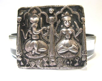 Antique Indian Amulet, Lord Ganesh and Goddess Pavarti, Alter Shrine or Alter Plaque, High Grade Silver, Rajasthan, 8.9 Grams,  c. 1800's