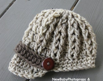 Newborn Photoprop Boy Hat - Oatmeal Newsboy Visor Brim Cap Beanie Textured Knitted / Crochet - Baby / Infant PHOTOGRAPHY SHOOT Perfect Gift