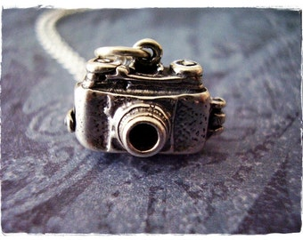 Movable Camera Necklace - Sterling Silver Camera Charm on a Delicate Sterling Silver Cable Chain or Charm Only