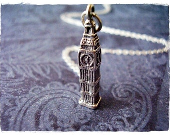 Silver Big Ben Necklace - Sterling Silver Big Ben Charm on a Delicate Sterling Silver Cable Chain or Charm Only