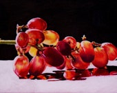 Dramatic Still Life Painting Backlit Grapes Illuminated Fruit High Contrast Realistic Fine Art 5 x 7
