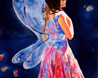 Watercolor Fairy painting colorful whimsical fantasy illustration will o the wisps faery wings 5 x 7 wall art