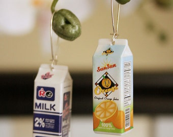 Milk and OJ cartons earrings