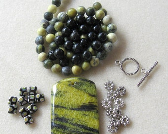 Yellow Turquoise, Black Agate, Czech Glass, Gemstone Pendant, Gemstone Beads, DIY Jewelry Kit, Bead Kits, Craft Supply, Necklace Kit, Design