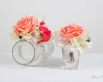 Coral Boutonniere & Corsage Set, Real Touch Flowers Roses, Hydrangeas, Calla Lilies, Crystals