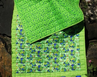 "Child's Quilted Sleeping Bag ""Frogs Go Green"" in Shades of Green and Royal Blue"