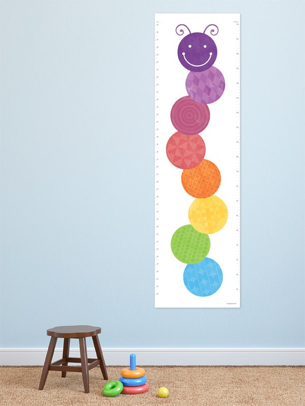Caterpillar growth chart for kids rooms kids art decor for a for Growth chart for kids room