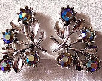 Aurora Borealis Flower Clip On Earrings Silver Tone Vintage Round Reflective Crystal Stones Leaf Spray