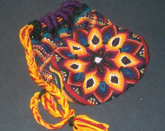 Woven Lotus Purse, Rainbow Mandala Macrame, Cotton Lined Tote Pouch