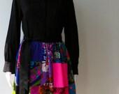 1960's Krist Hippie Patchwork Black dress