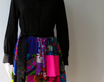 1960's Krist Hippie Patchwork Black dress