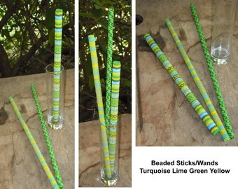 Beaded Wands Sticks Set of 3 Magic Cosplay Tribal Peyote Stitch Delica Czech Seed Beads Home Decor Wedding Birthday Party Favor Gift