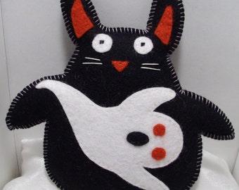 Halloween decor black bunny plush felted wool toy ghost decor halloween decoration usagirabbit