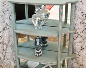Shabby Chic Curio Vintage Display Cabinet Mirrored Free Standing or Wall Hanging Distressed Hand Painted by Ollie's Fine Things