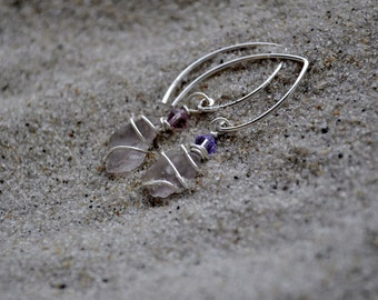 Purple Seaglass Earrings - Sterling Silver Seaglass Jewelry