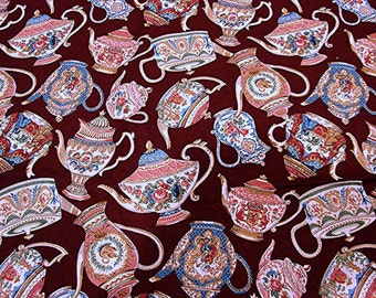 Teapot Fabric Cotton Burgundy with multi color Teapots 1 yard